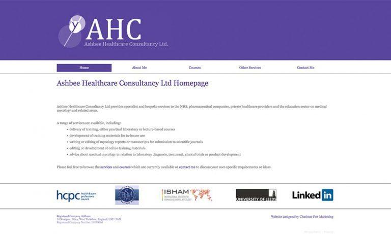 Ashbee healthcare website screen shot