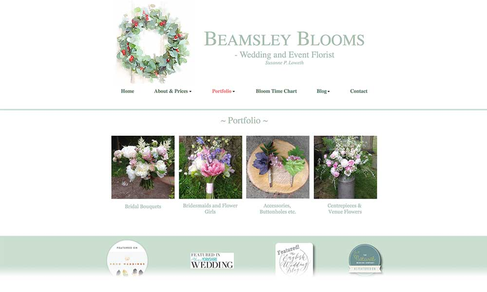 Beamsley Blooms wedding florist website screen shot
