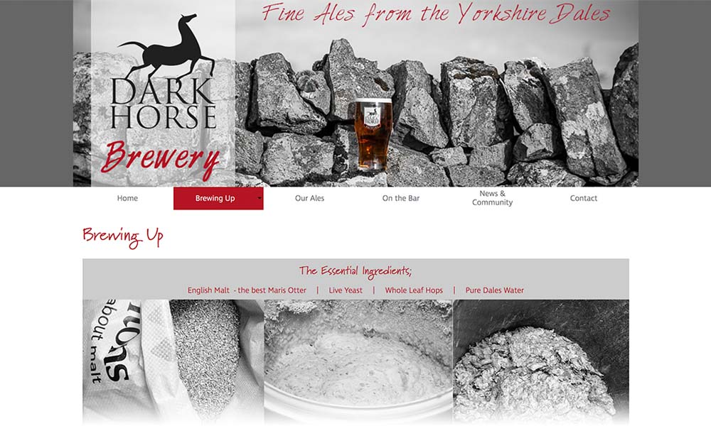 Dark Horse Brewery website screen shot