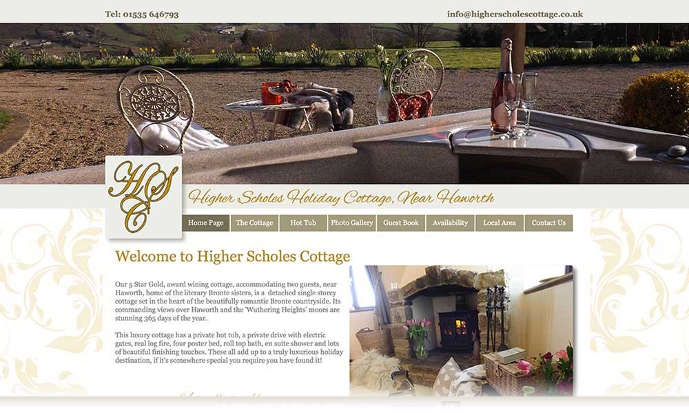 Higher Scholes Cottage website screen shot