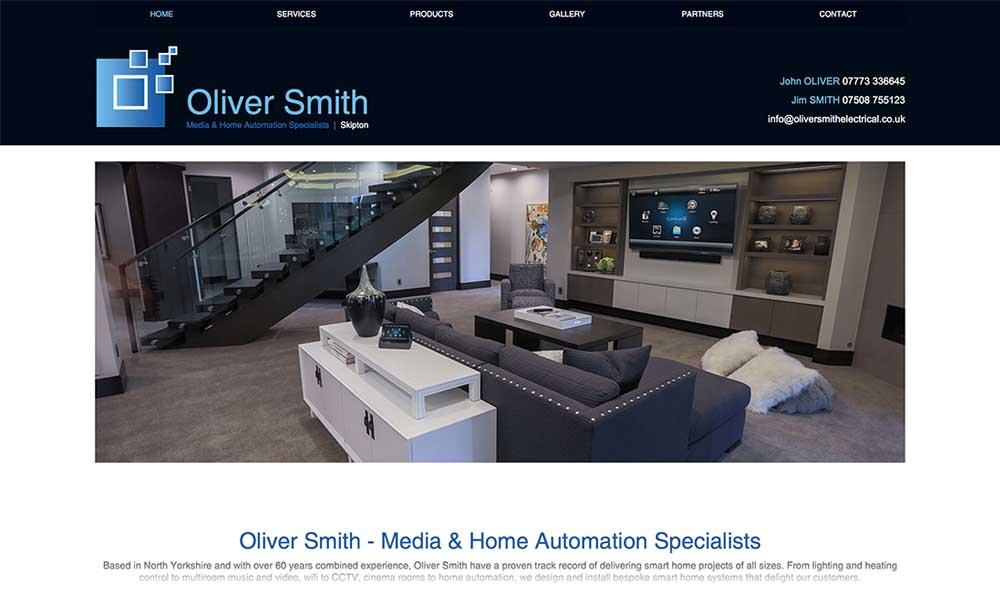 Oliver smith electrical website screen shot