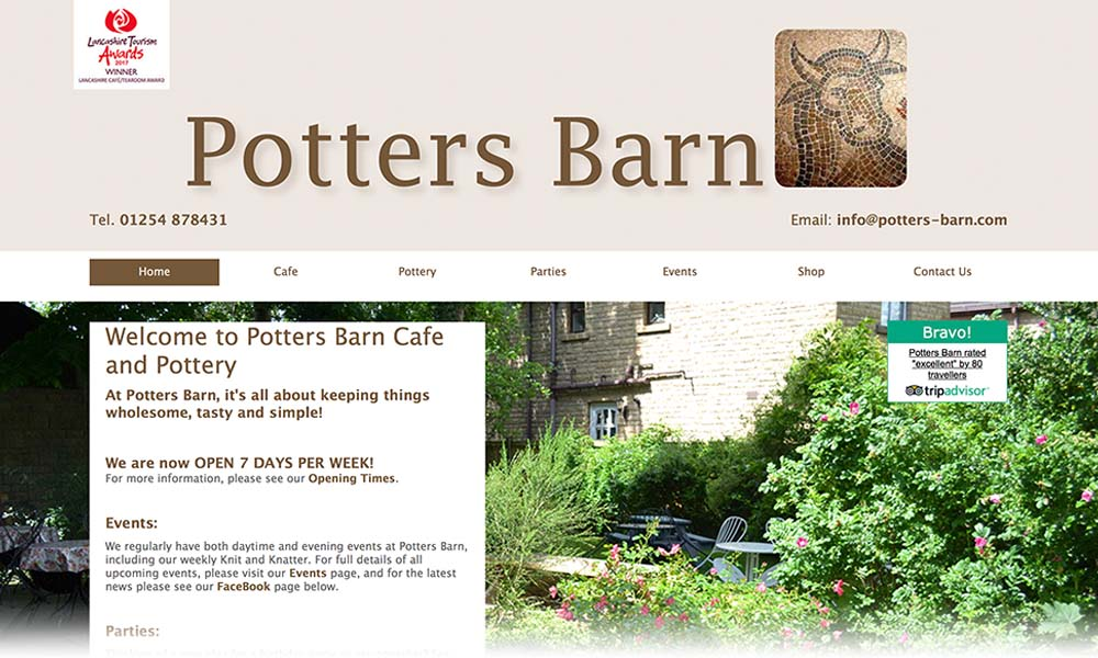 Potters barn Ribchester website screen shot