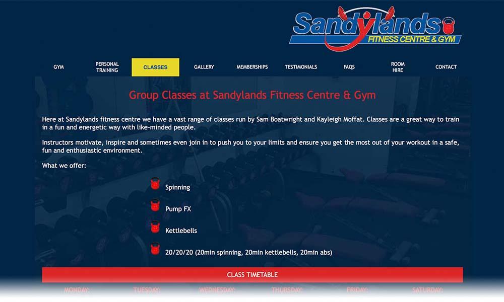 Sandylands fitness centre website screen shot