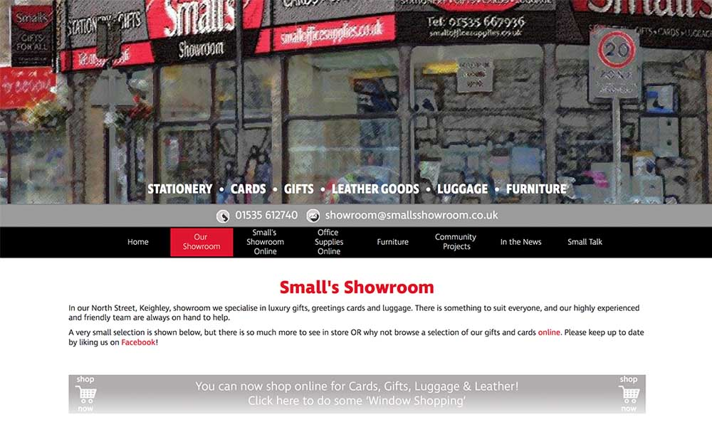 smalls showroom website screen shot