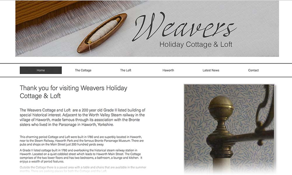 weavers cottage website screen shot