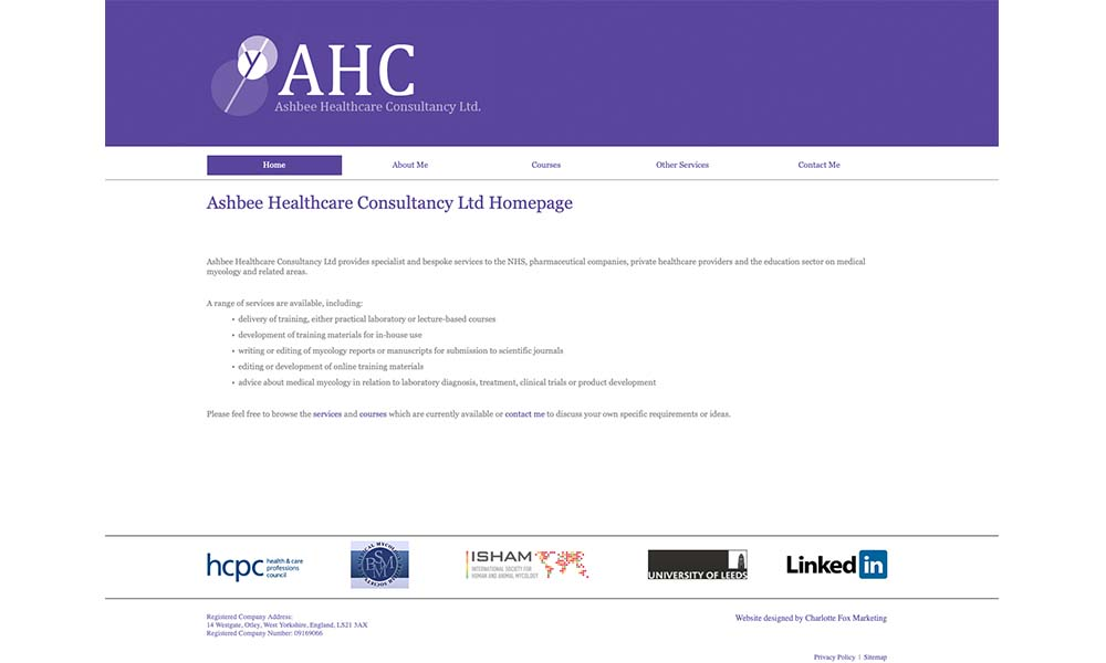 Ashbee Healthcare Consultancy website