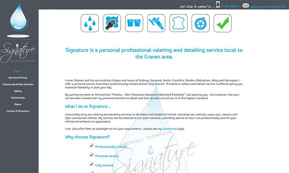 AJ Signature Valet website