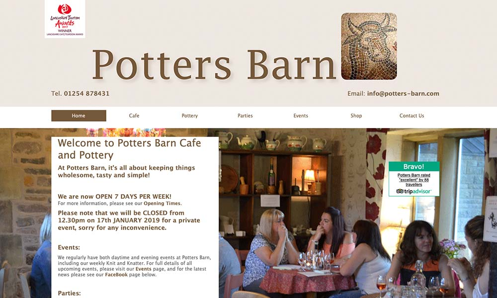 Potters Barn Cafe website