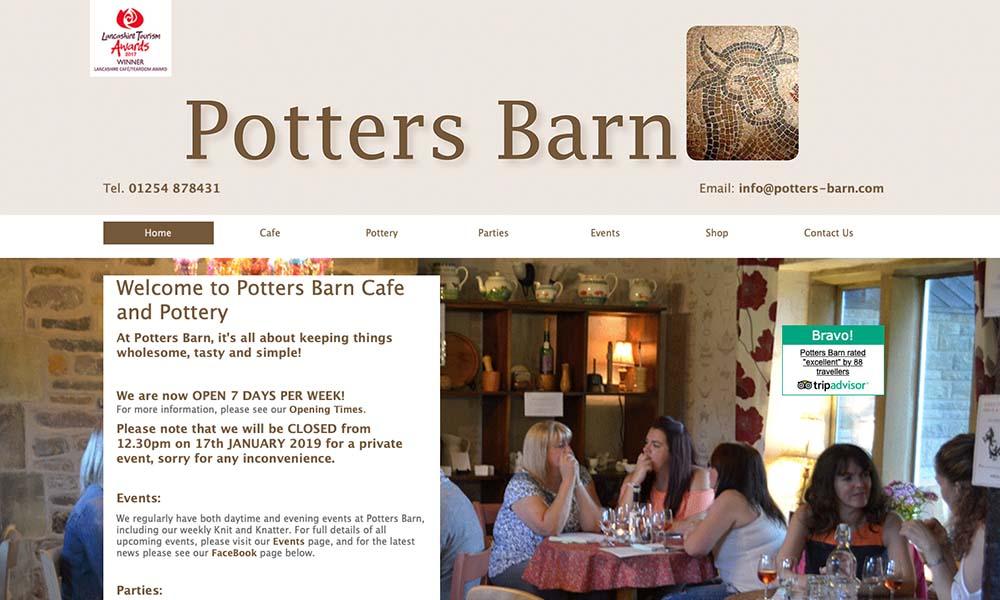 Potters Barn Cafe website