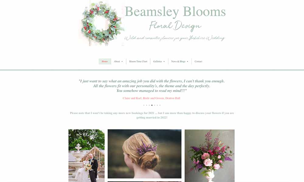 Charlotte Fox Marketing Web Design Skipton beamsley blooms flowers