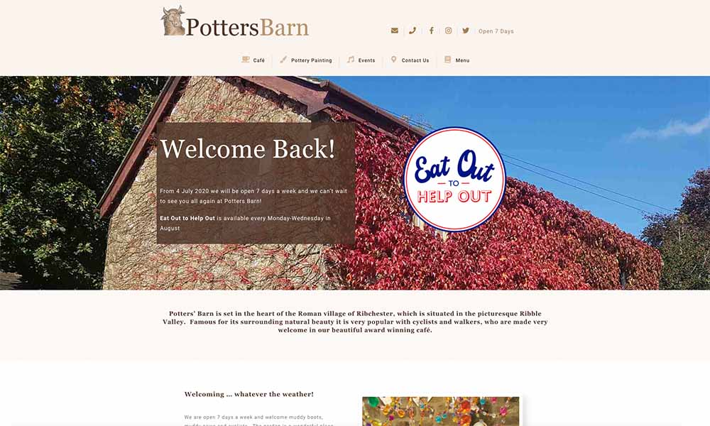 Charlotte Fox Marketing Web Design Skipton potters barn